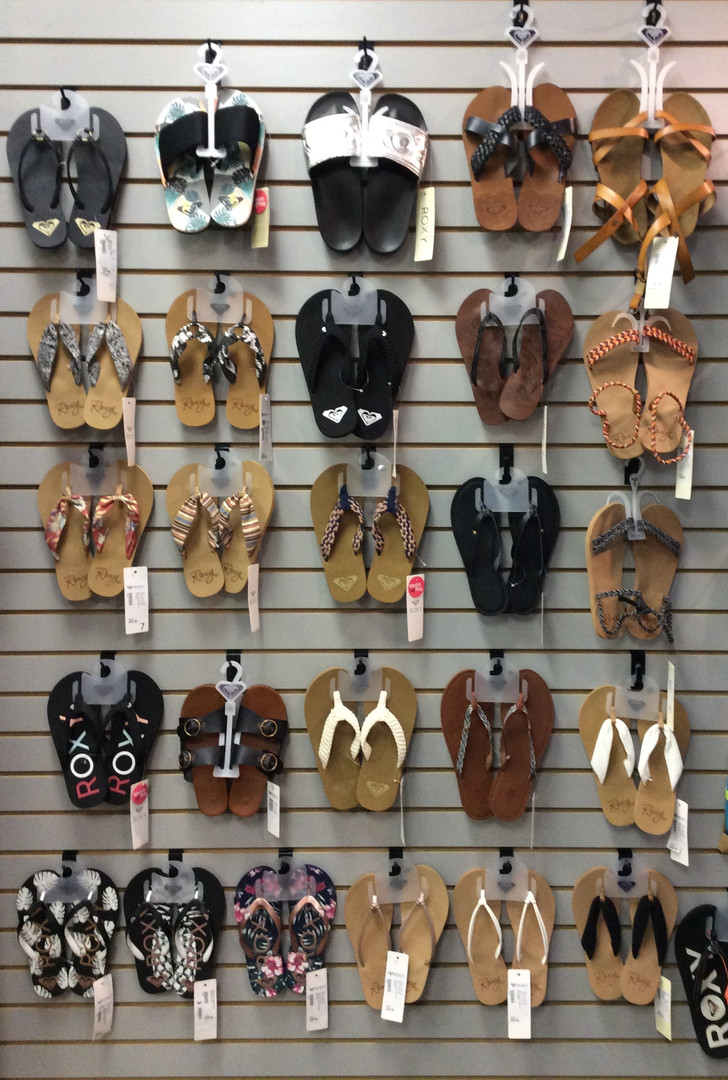 Lots of sandals to choose from.