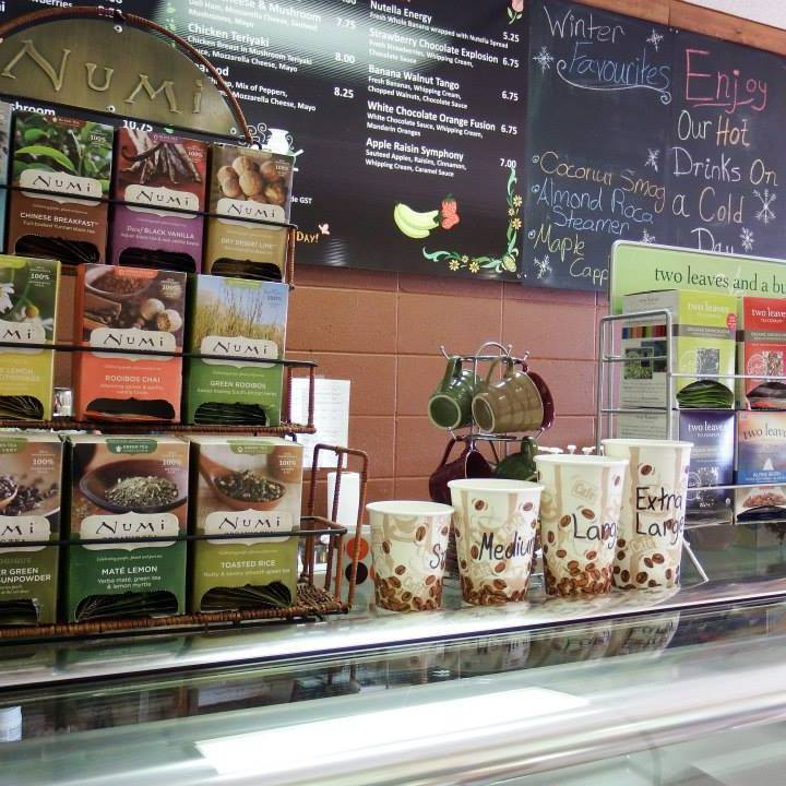 Large selection of coffees and teas.