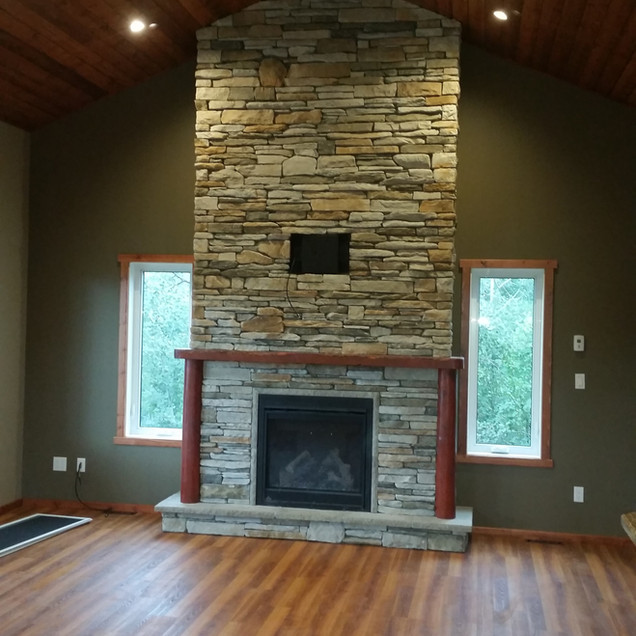 Custom rock fireplace
