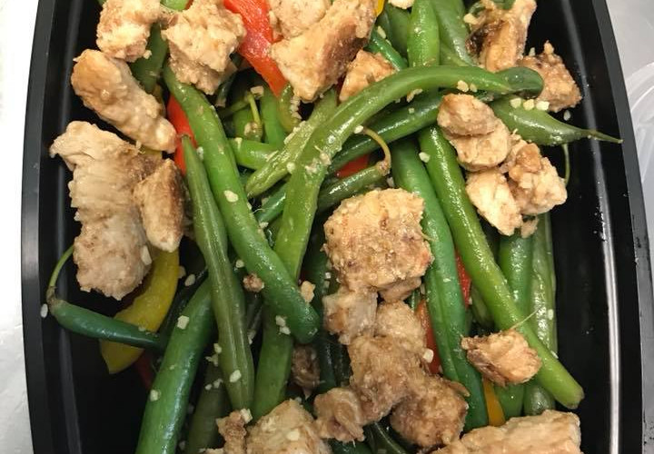 Sesame Chicken on Green Beans & Peppers