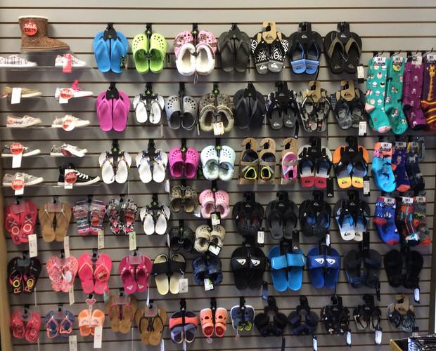 Kids crocs, sandals and flip flops.