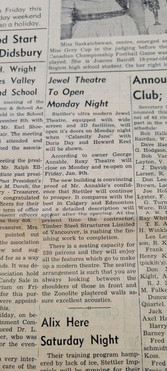 Newspaper article on the  opening of the Jewel Theatre