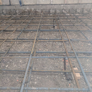 Two grids of rebar for suspended slab