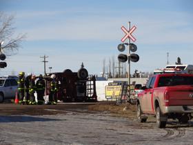 East Stettler rollover involving animal trailer