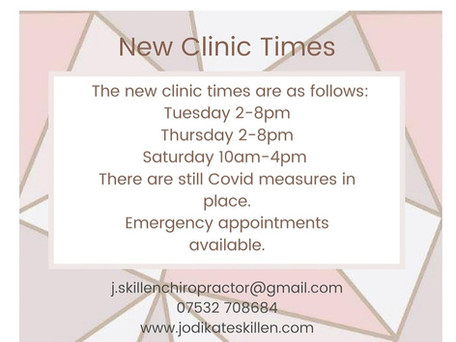 New Clinic Opening Times