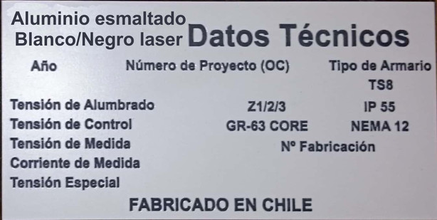 Placa datos tecnicos - Aluminio Esmaltado