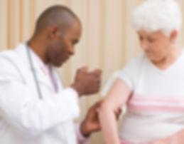 simple health education, seniors, doctor, immunization, woman, health