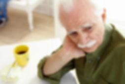 simple health education, seniors, depression, sad, man, coffee