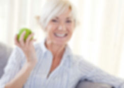 simple health education, seniors, apple, healthy, eating, smiling, woman, blonde, beautiful