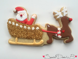 Santa in Sleigh with Rudolph Cookie