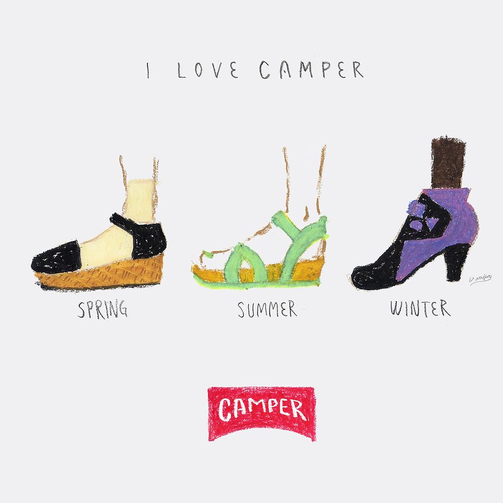 イラスト「CAMPERの靴が好き」
