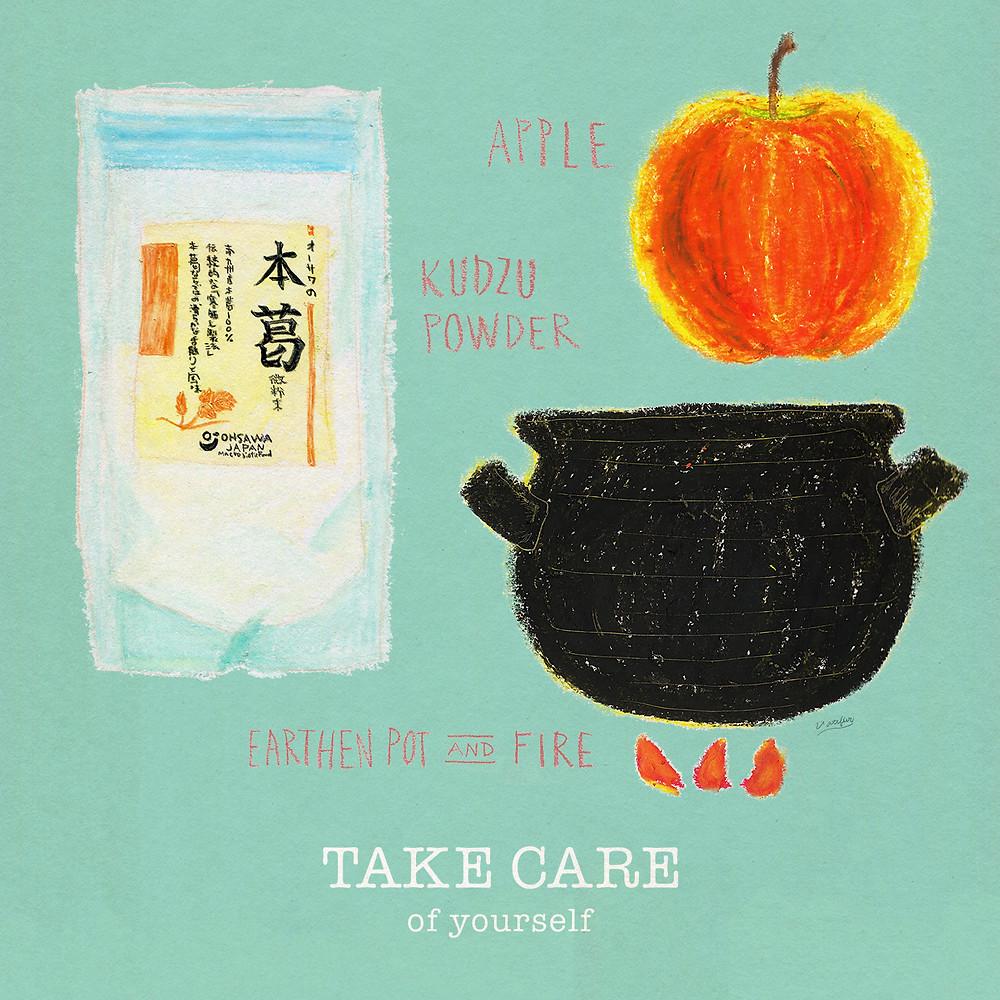 イラスト「りんごの葛練り」クレパス、色鉛筆
