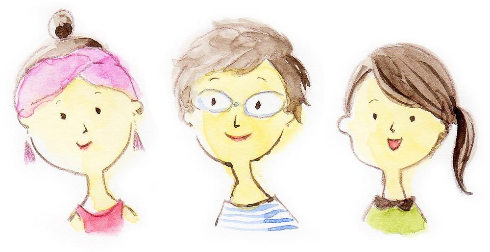 水彩イラスト「3人の女性」