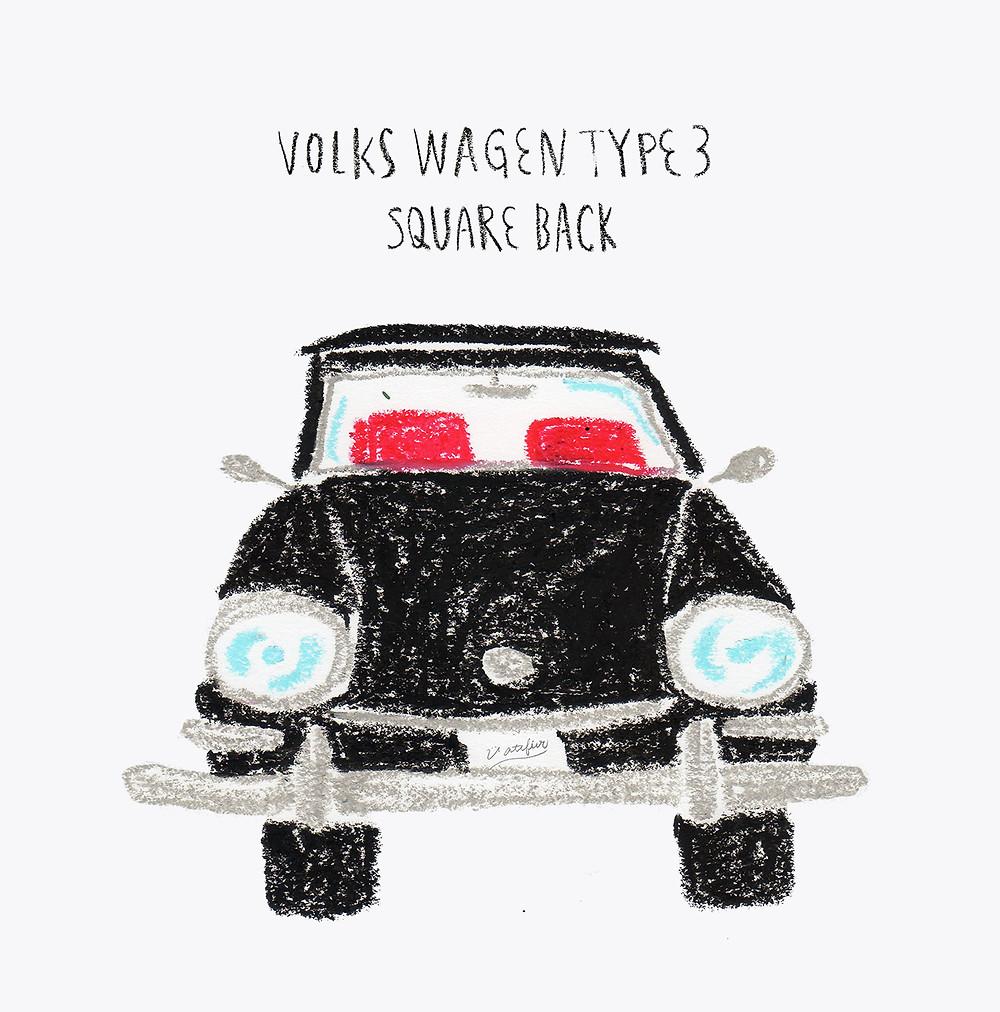 イラスト「volks wagen type3 valiant」