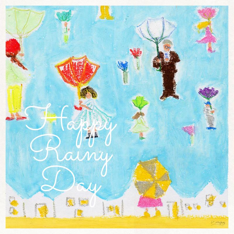 イラスト「Happy Rainy Day」クレパス、色鉛筆
