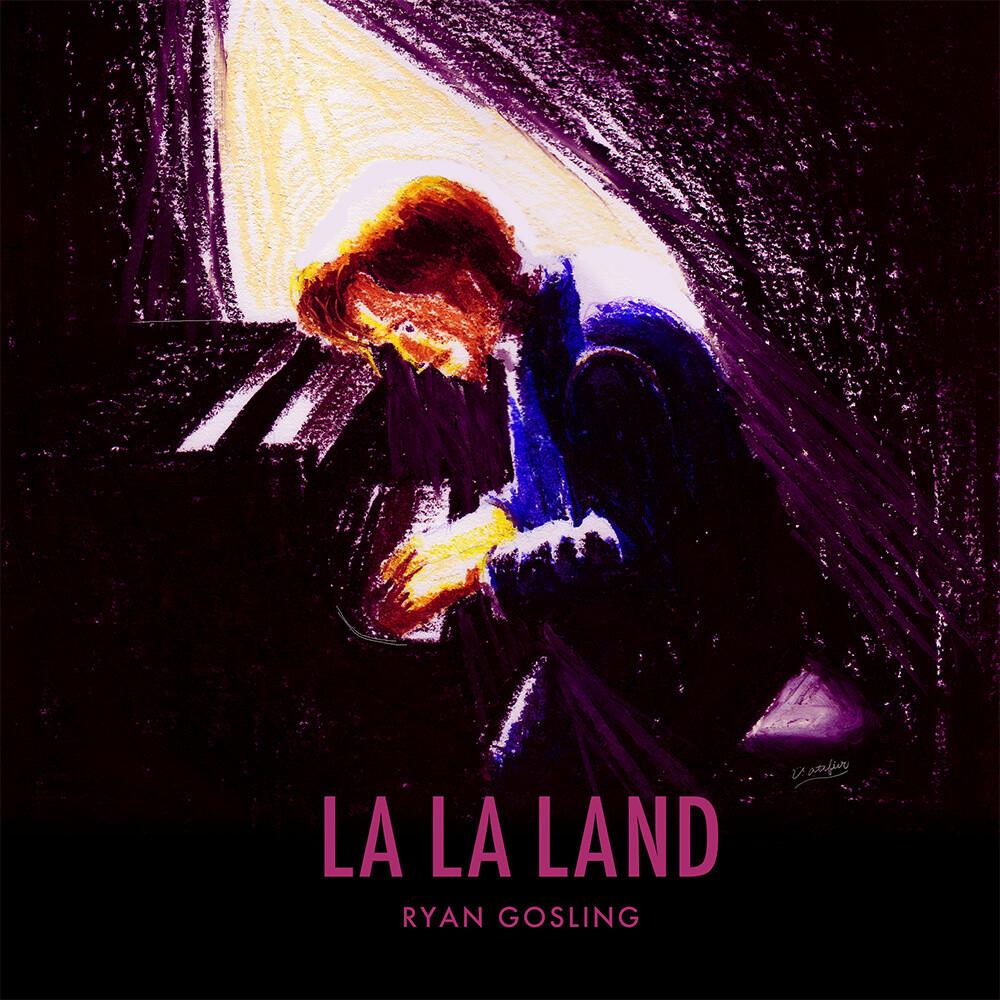 イラスト「LA LA LAND ピアノシーン」クレパス画