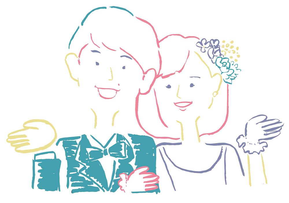 結婚式用の似顔絵