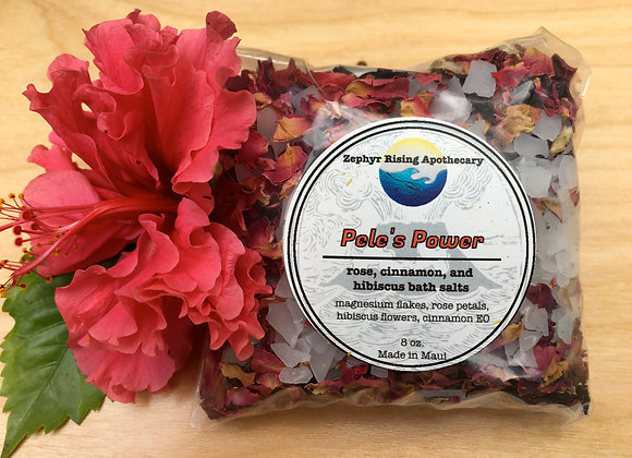 Pele's Power Bath Soak: cinnamon + rose petal and hibiscus bath salts