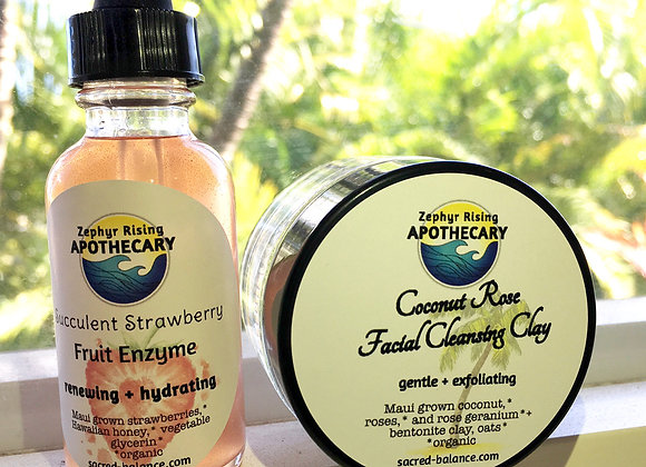 Facial Cleansing Kit: Coconut Rose Cleansing Clay + Strawberry Enzymes