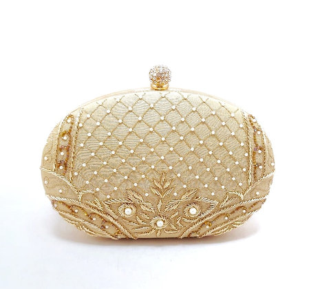 Oval Hand Embroidered Gulnaz Clutch