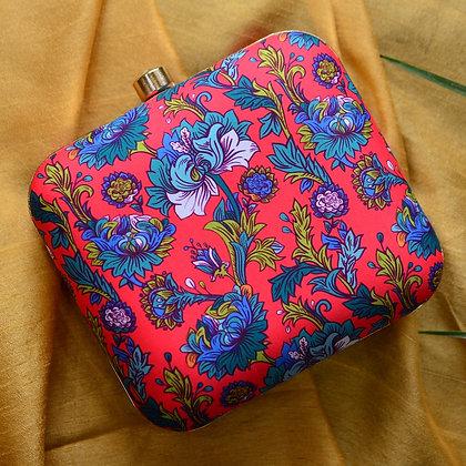 Red Blue Floral Print Clutch