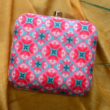Pink Blue Diamond Print Clutch