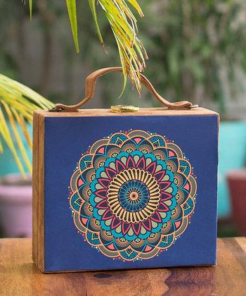 Blue Mandala Suede Suitcase Clutch