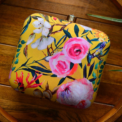 Yellow Pink Floral Print Clutch