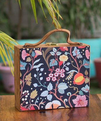 Navy Floral Suede Suitcase Style Clutch