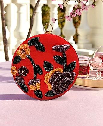 Round Hand Embroidered Flora Clutch