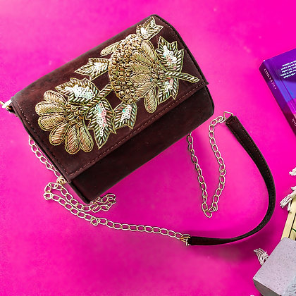 Suede Hand Embroidered BonBon Crossbody