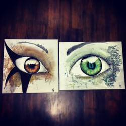 Last 2 paintings side by side... Fun with water color! Off they go to their new owners