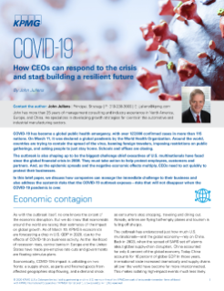 BABC member KPMG shares brief paper detailing how CEOs can respond to the Covid-19 crisis and start