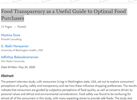 Food Transparency as a Useful Guide to Optimal Food Purchases