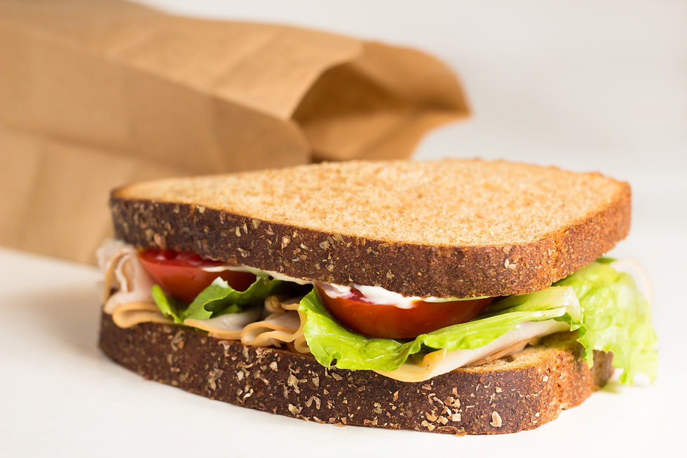 Delicious turkey sandwich with lettuce,