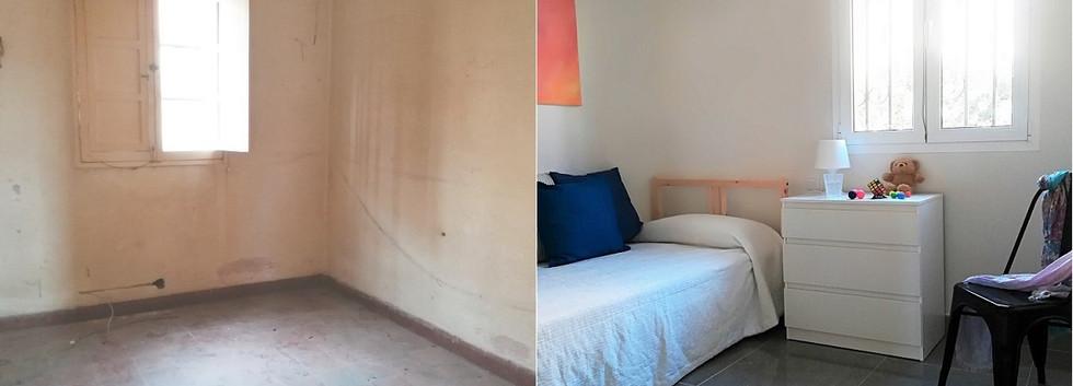Dormitorio individual antes y después