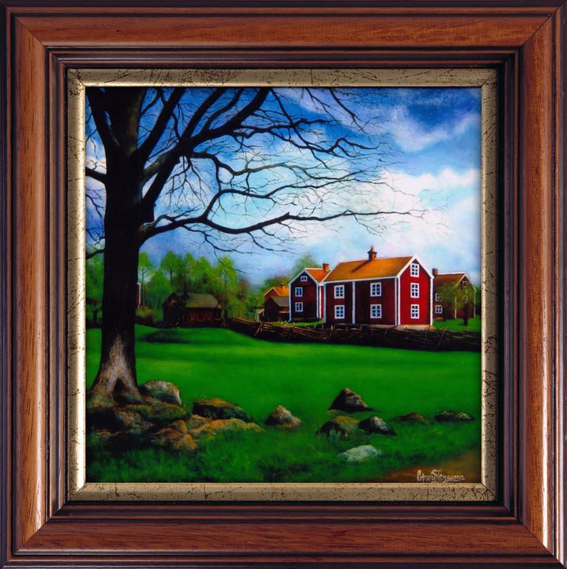 Пейзаж с красными домами.