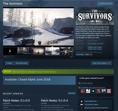 The Survivors Steam Page
