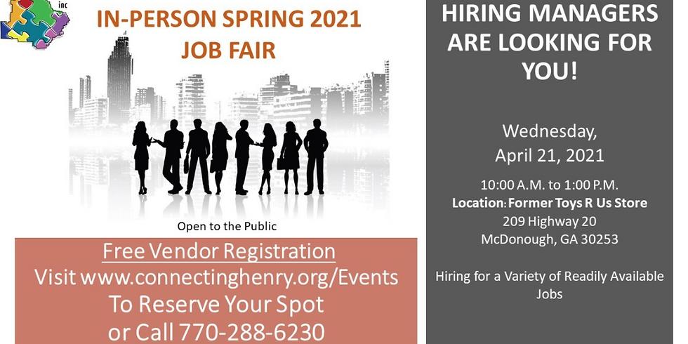 In-Person Spring 2021 Job Fair Vendor Sign-Up