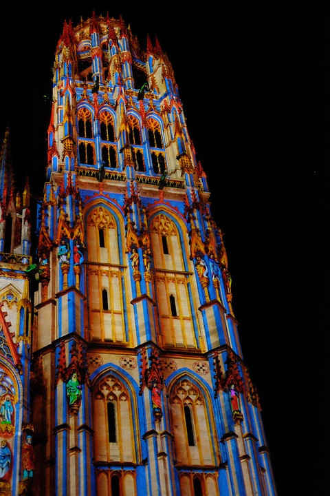 Rouen Cathedral, with light show at night