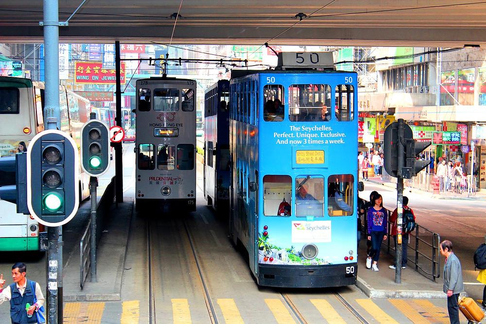Hong Kong double decker blue tram