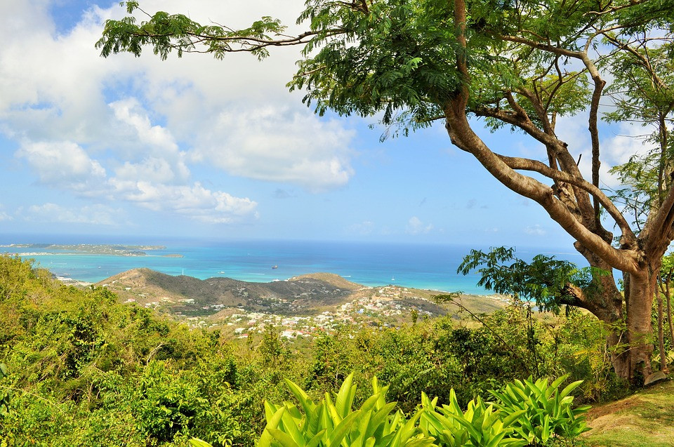 Beautiful view of the island of St. Martin from up high.