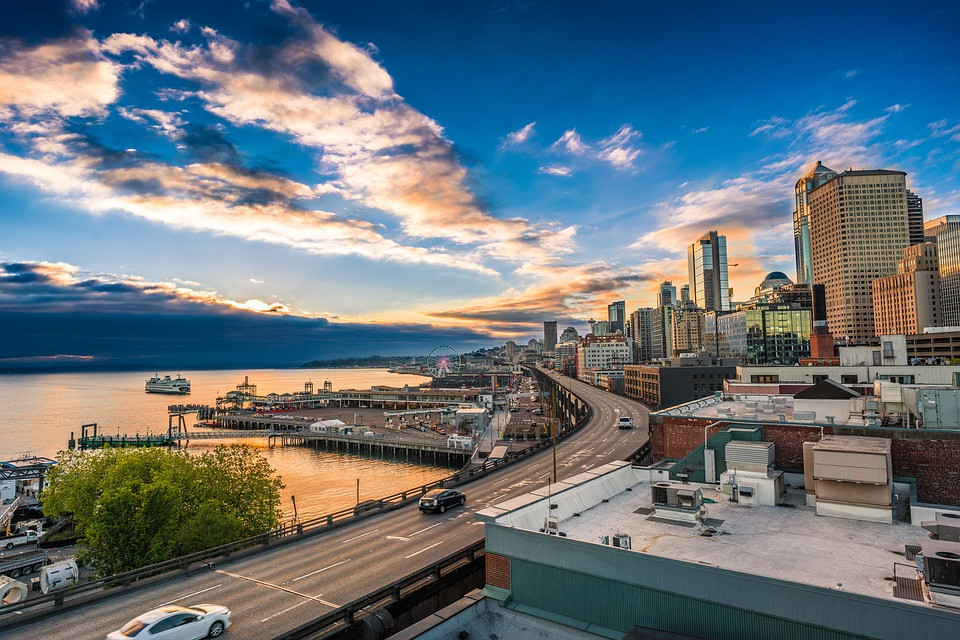 View of The Seattle Marina During Sunset
