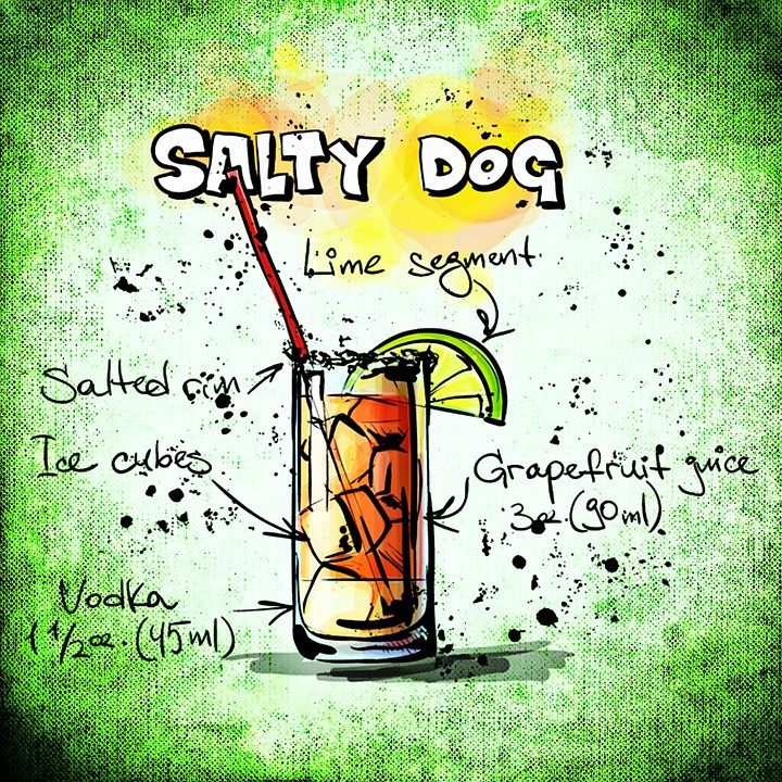 Salty dog cocktail poster