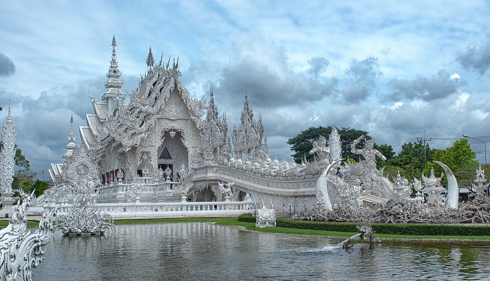 Wat Rong Khun in Chiang Rai Thailand also know as the white temple.