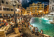 Trevi fountain in Rome, people throwng coins and wishing