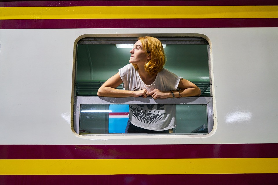 Traveling on a train in Spain