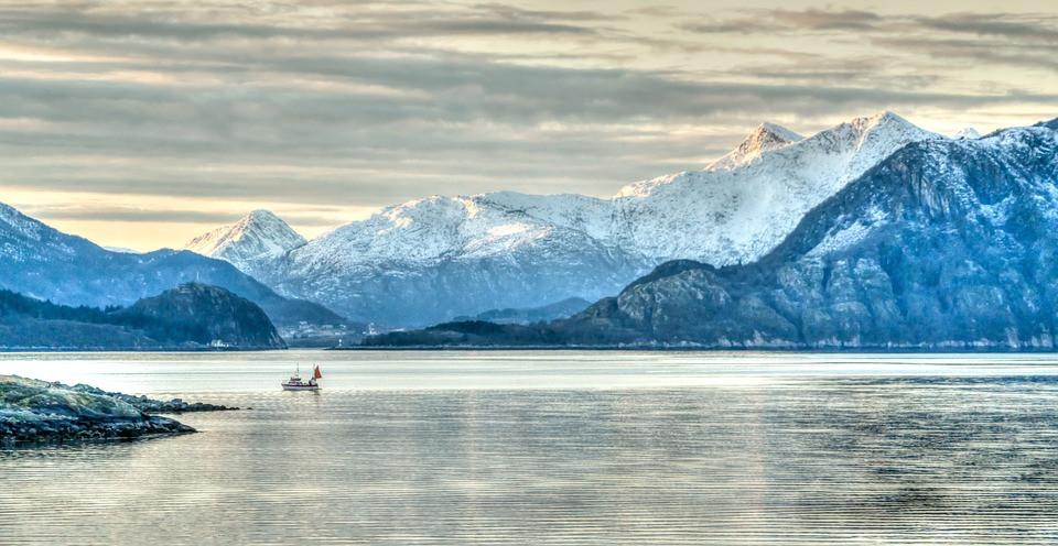 Norway, land of lakes Fjords, a beautiful winter wonderland