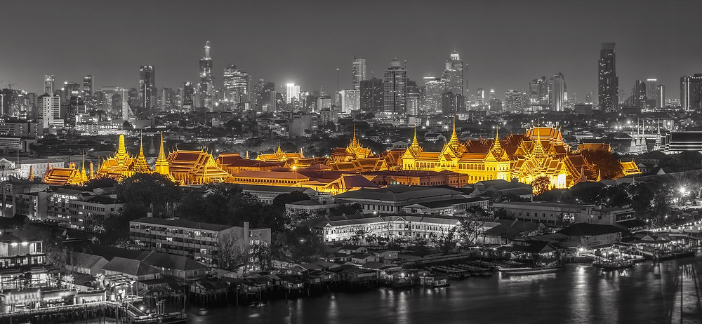 View of golden temple in Bangkok