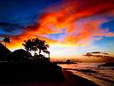 Beach sunset in the Seychelles, Africa